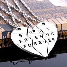 Celebrity BEST FRIENDS FOREVER Silver 3pcs Heart Pendant Necklace Chain Set Gift