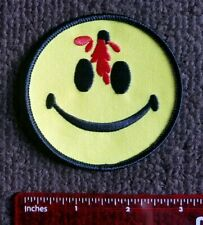 DEAD SMILEY FACE PATCH  BULLET HOLE SMILE  HAVE A NICE DAY  RED & YELLOW