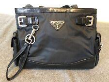 Authentic Black Prada Vinyl And Leather Classic Shoulder Bag