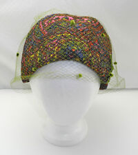 Vintage Paisley Pink Purple Glitter Pillbox Hat-Green Netting - Richard Original