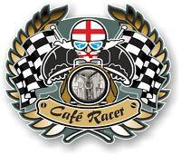 D'ORO STEMMA CAFE PER MOTO & inglese bandiera BOBBER Ton Up auto casco adesivo
