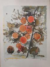 Jouenne Michel Lithographie signée fruits fleurs arbres paysage