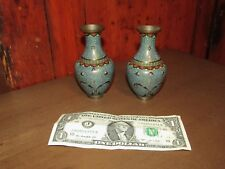 Pair Fine Antique Chinese Cloisonne Miniature Vases