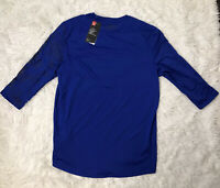 UNDER ARMOUR HEAT GEAR FITTED MENS Size L LARGE SHIRT Blue Running Training NWT
