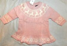 Sweater Dress Pink Knit Baby Gap Reindeer Intarsia Girl size 3-6 month New