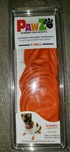 PAWS RUBBER DOG BOOTS 12 PC NEW NIP size XS orange reusable disposable DOG PUPPY