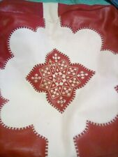 Vintage Red Leather Ottoman Cover Pieced Embroidered Boho