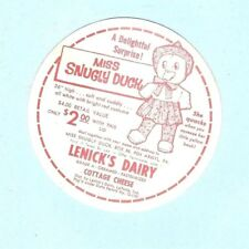 """COTTAGE CHEESE COUPON for """"Miss Snugly Duck"""" - LENICK'S DAIRY, La Porte, Indiana"""