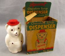 """Vintage Squeezit Chocolate Syrup Dispenser White Bear 5.5"""" Original Box Squeeze"""