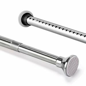 70-240cm Adjustable Straight Shower Curtain Rod Bath Tub Pole Stainless Steel