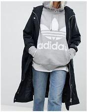 adidas Originals Women's Hoodie Hoody Hooded Sweatshirt Trefoil Pullover 36 Grey Cy6665