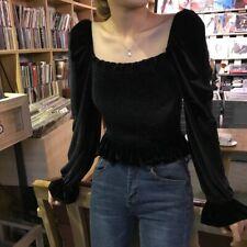 Ladies Velvet Lolita Gothic Blouse Tops Puff Sleeve Flared Off Shoulder Vintage