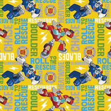 Hasbro Transformers Rescue Bots Roll to 100% Cotton Fabric by the yard PRE-ORDER