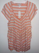 NWT French Laundry Peach Chevron Stripe Tiered Knit  Top Size 18/20