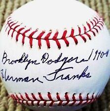 HERMAN FRANKS (D.2009) BROOKLYN DODGERS 1940-41 SIGNED OML BASEBALL JSA