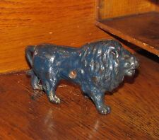 Original 1910 -1920 Antique Vtg Hubley Blue Lion Cast Iron Still Penny Bank Nr