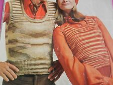 "Knitting Pattern Mens Womens Round Neck Tank Top 32-42"" Chest DK Vintage"