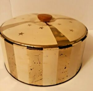 Vintage Gold Cream Striped Sewing Tin Cake Cookie Tin Guildcraft Plastic Liner