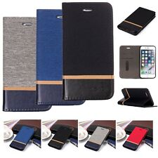 Canvas PU Leather Card Slot Case Phone Cover For iPhone Samsung J6 J4 2018 Sony