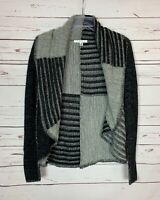 Cabi Womens S Small Gray Black Patchwork Open Fall Winter Soft Sweater Cardigan