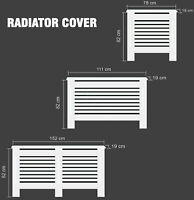 Radiator Cover White Painted Cabinet Modern MDF Wood Grill Heating Covers Shelf