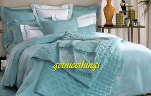 Yves Delorme Queen Duvet Cover Tropics Lagon Blue Jacquard Floral Cotton Sateen