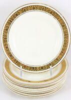 SET 9 BREAD PLATES BURLEIGH WARE CHINA ENGLAND RAISED GOLD ENCRUSTED CREAM WHITE