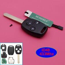 HONDA ACCORD CIVIC 3 BUTTON REMOTE KEY FOB CASE + 433MHZ + CHIP ID48