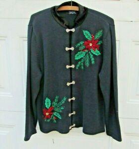 Poinsettia Christmas Sweater Women M Black Beads Hooks Vintage Crystal Kobe