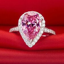 Certified 2.40Ct Pink Sapphire Pear Cut Women's Wedding Ring In14Kt White Gold.