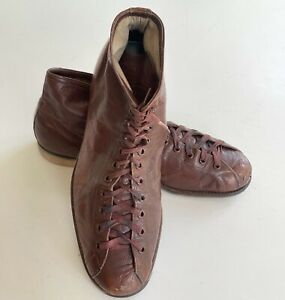 Vintage 1930s-40s High-Top BOWLING SHOES Sz 7 ½ Brown Leather