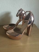 Never Worn ASOS Rose Gold Ankle Strap Block Heels Size 6