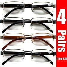 4 Pairs Mens Womens Metal Half Frame Rimless Rectangular Reading Reader Glasses
