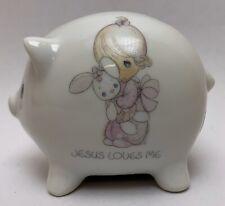 Precious Moments 1986 Jesus Loves Me Piggy Bank Enesco Porcelain w/stopper Child