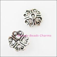 60Pcs Tibetan Silver Tone Heart Flower End Bead Caps Connectors 9mm