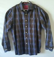 Men's Tommy Bahama Button Down Blue Black Long Sleeve Dress Shirt Large
