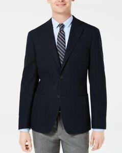 $450 DKNY Slim-Fit Basketweave Midnight Blue Sport Coat 46R 46 Wool Cotton NEW