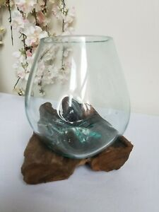 Melted Glass on Wood Sculpture/Teak Root/Rustic/Bowl/Decorative 20x20x15cm