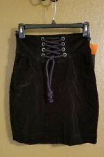 New With Tags Illicit Black Velvet Lace Front Short Skirt Women's Size XS