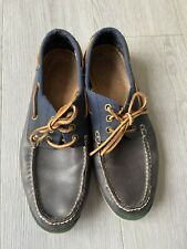 Polo Ralph Lauren Navy Blue Canvas Leather Boat Shoes Loafers Brogues Casual 10