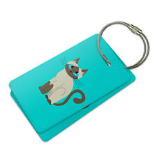 Cute Siamese Cat Suitcase Bag ID Luggage Tag Set