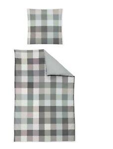 Bierbaum Baumwolle Bettwäsche 135x200 Linon Renforce Karo grün grau 4tlg 1B