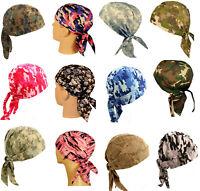 Camouflage Motorcycle Skull Cap Doo Rag Bandana Wrap Hat Chemo Bald Head Cover