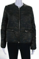 Generation Love Womens Long Sleeve Camouflage Zip Up Puffer Coat Green Size M