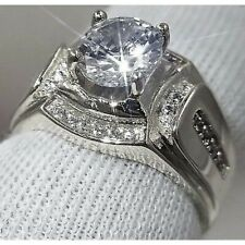 Silver Ring Size 8 Men'S Sparkling Simulated Moissanite