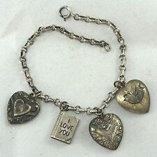 40's Vintage Sterling Silver Puffy Heart Enamel Heart Photo Album Charm Bracelet
