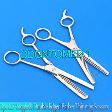 "New 2pc 6.5"" Single & Double Edged Barber Thinning Shears Scissors Comb Set"