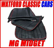 MG Midget / Sprite Pair of Seat Covers 1970 - 1981 Leather look Black / Red