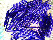 Vtg 300 SILVER LINED COBALT BLUE BUGLE GLASS BEADS 30 mm #052311g