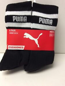Puma Men Crew Socks 6 Pack Black Sock Size 10-13 Shoe Size 6-12 (S)